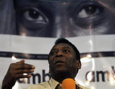 Brazil's soccer legend Pele attends a news conference for the launch of his official biography in Sao Paulo