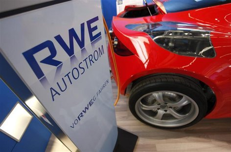 The recharging system of German power supplier RWE is pictured during the International Motor Show in Frankfurt