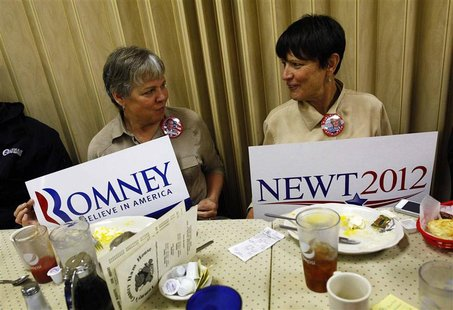 Elaine Stephens and Cindy Sweetnay hold rival campaign signs at Tommy's Ham House in Greenville