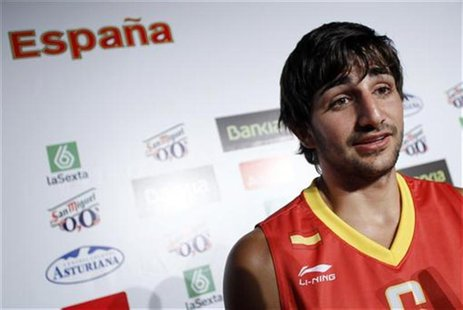 Spain's basketball player Ricky Rubio talks to the media after the presentation of the Spanish basketball team for the upcoming Eurobasket 2