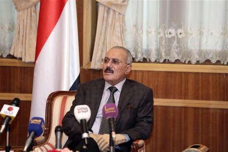Yemen's outgoing President Saleh speaks to selected group of state media reporters in Sanaa
