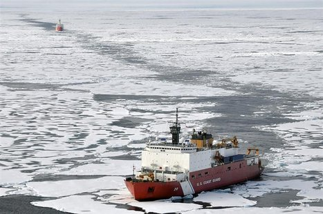 Handout photo of Coast Guard Cutter Healy and Canadian Coast Guard Ship Louis S. St-Laurent during an Arctic expedition