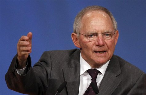 Finance Minister Schaeuble gives a speech at CDU party convention in Leipzig