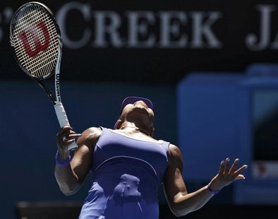 Williams of the U.S. reacts during her match against Makarova of Russia at the Australian Open tennis tournament