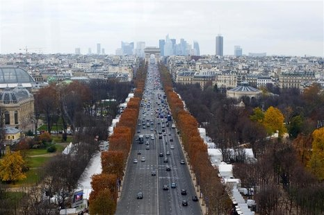 A general view shows the Champs Elysees Avenue and the Arc de Triomphe monument in Paris