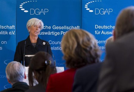 The IMF head Lagarde delivers speech at German Council on Foreign Relations in Berlin.
