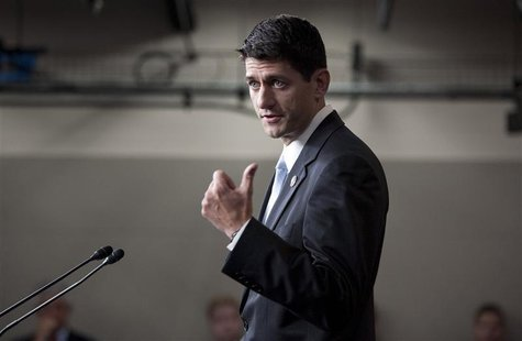 Representative Paul Ryan speaks to the media on Capitol Hill