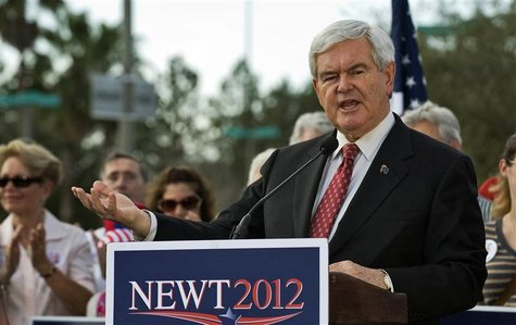 Republican presidential hopeful Gingrich talks to supporters during a campaign rally in Tampa