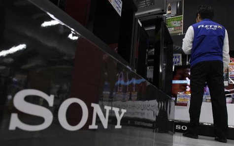 Sony Corp's logo is pictured at an electronics store in Tokyo
