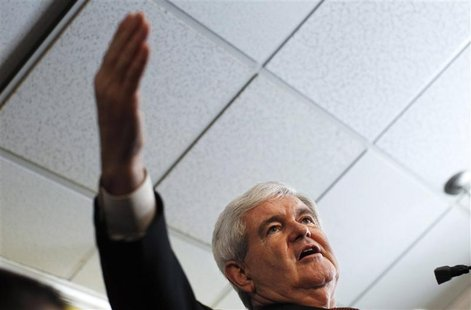 Republican presidential candidate Gingrich speaks during a campaign stop at the Tick Tock Restaurant in St. Petersburg