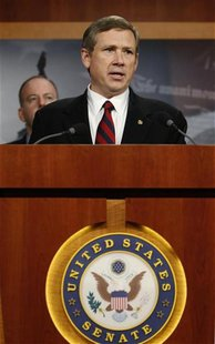 US Senator Kirk addresses a news conference as he discusses his opposition to a vote on START Treaty on Capitol Hill in Washington
