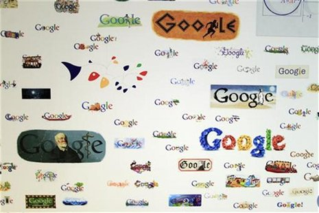 Google homepage logos are seen on a wall at the Google campus near Venice Beach, in Los Angeles