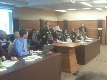 Residents from Bouche's Kronenwetter Park speak at a public hearing on revocation of the owner's license, January 23, 2012