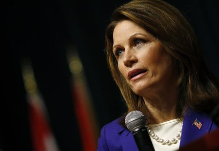 U.S. Republican presidential candidate and Representative Michele Bachmann (R-MN) speaks during a campaign event at Principal Financial Grou