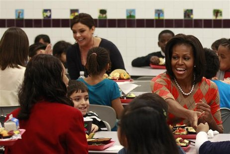 First Lady Michelle Obama has lunch with students at Parklawn Elementary School in Alexandria