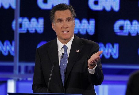 Republican presidential candidate Mitt Romney makes a point during the Republican presidential candidates debate in Jacksonville