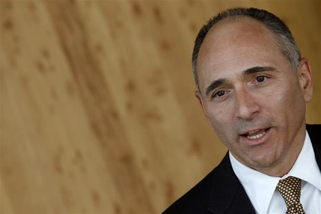 Novartis CEO Joe Jimenez attends an interview with Reuters at the company's headquarters in Basel