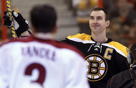 Boston Bruins Zdeno Chara waves after winning the hardest shot competition during the NHL All-Star hockey skills competition in Ottawa