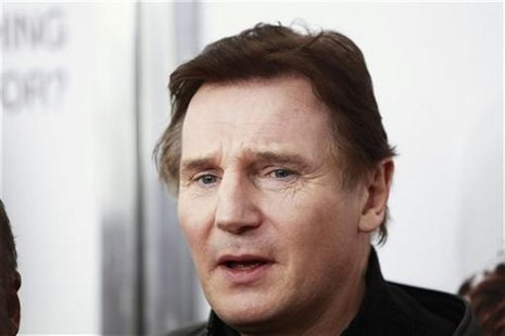 "Cast member Liam Neeson arrives for the premiere of the film ""The Next Three Days"" in New York"