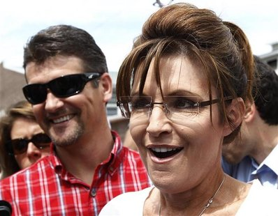 Former Governor of Alaska Sarah Palin and her husband Todd visit the Iowa State Fair in Des Moines