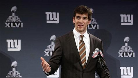 New York Giants quarterback Eli Manning addresses the media during a news conference for the Super Bowl XLVI in Indianapolis