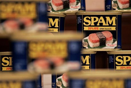 Cans of Hormel Foods Corp's Spam are pictured at a news conference in Tokyo