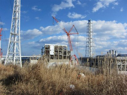 Handout photo of crippled Fukushima Daiichi nuclear power plant's No.4 reactor building in Fukushima prefecture