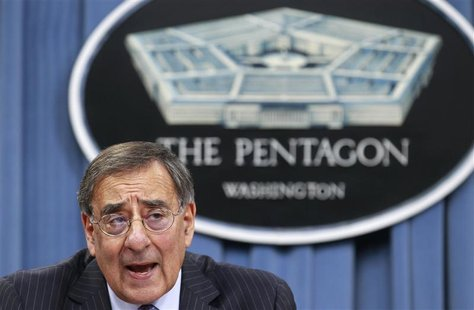 U.S. Defense Secretary Leon Panetta briefs the media at the Pentagon Briefing Room in Washington, DC