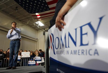 Republican presidential candidate Romney speaks at a campaign rally at Ring Power Lift Trucks in Jacksonville