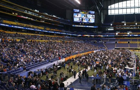NFL allows football fans to attend media day for the NFL Super Bowl XLVI in Indianapolis