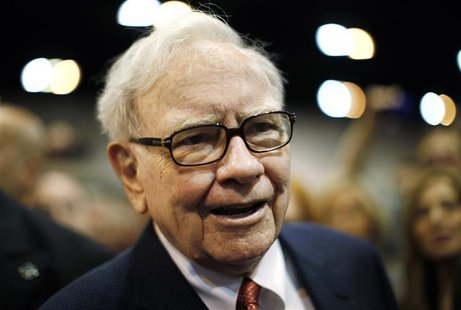 Berkshire Hathaway Chairman Warren Buffett wanders the company trade show before his company's annual meeting in Omaha