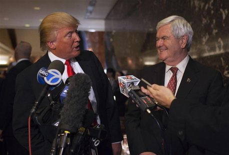 Trump speaks to members of the media after a meeting with Republican presidential candidate Gingrich in New York