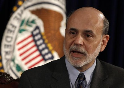 Chairman of the Federal Reserve Ben Bernanke holds a news conference in Washington