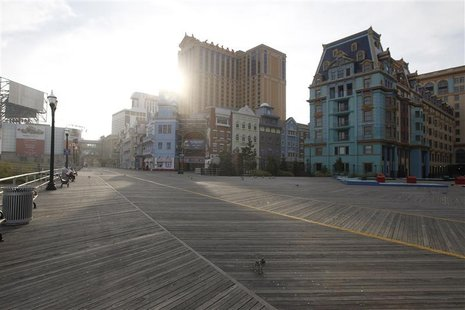 The boardwalk at Atlantic City, New Jersey, is seen empty of vacationers