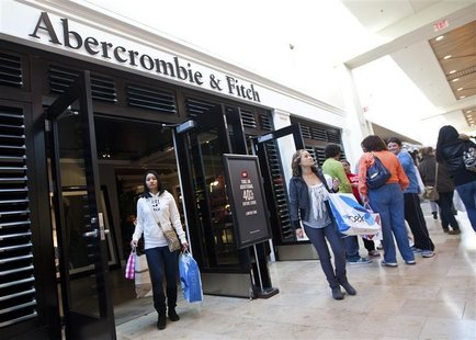 Customers leave an Abercrombie & Fitch store at South Park mall in Charlotte
