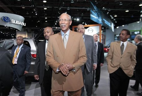 Detroit Mayor Bing heads to the Dodge display during the final press preview day for the North American International Auto Show in Detroit