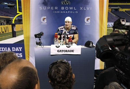 Patriots tight end Gronkowski is interviewed during media day for the NFL Super Bowl XLVI in Indianapolis