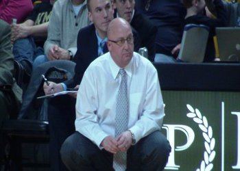 WMU Broncos Head Coach Steve Hawkins looks on at University Arena during a Broncos game.