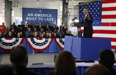 President Barack Obama talks about the economy in Arlington