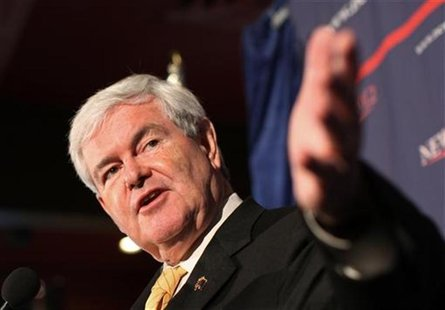 Republican presidential candidate Gingrich gestures during a campaign appearance in Reno