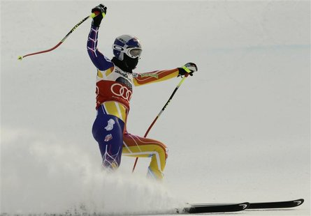 Vonn reacts after clocking the fastest time in the women's Alpine Skiing World Cup Downhill in Garmisch-Partenkirchen