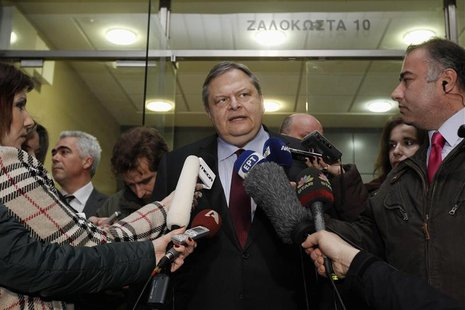 Greece's Finance minister Venizelos makes statements outside his office in Athens