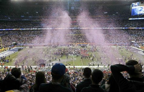 Confetti is blown onto the field after the New York Giants defeated the New England Patriots to win the NFL Super Bowl XLVI football game in