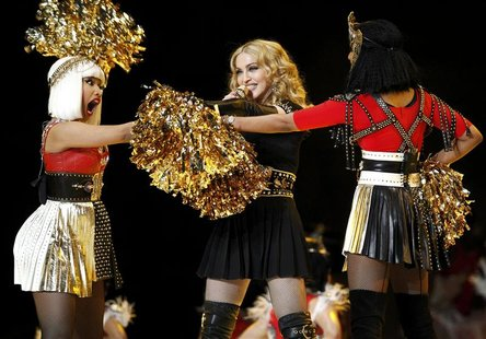 Madonna performs during the halftime show with Nicki Minaj and M.I.A. in the NFL Super Bowl XLVI football game in Indianapolis