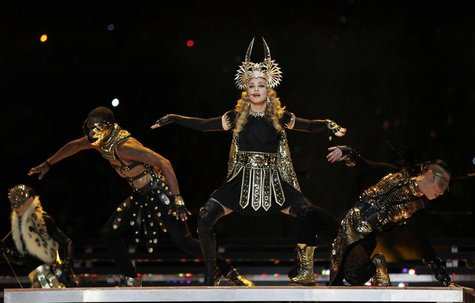 Madonna performs during the halftime show at the NFL Super Bowl XLVI football game between the New York Giants and the New England Patriots