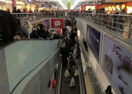 A view of the inside of a shopping mall is seen in Tehran