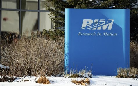 A sign of Research in Motion is seen at its headquarters in Waterloo