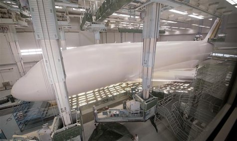 Airbus A380 aircraft is seen in paint shop at Airbus facility in Finkenwerder near Hamburg