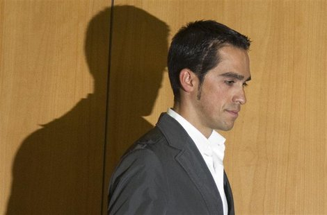 Saxo Bank-Sungard rider Alberto Contador arrives to a news conference at his hometown of Pinto, near Madrid