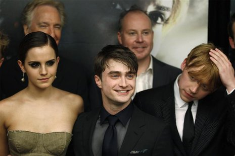 "Cast members Grint, Radcliffe and Watson arrive for premiere of the film ""Harry Potter and the Deathly Hallows: Part 2"" in New York"